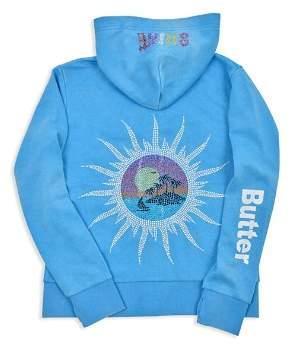 Butter Shoes Girls' Fleece Embellished Summer Shine Zip-Up Hoodie - Big Kid, Little Kid