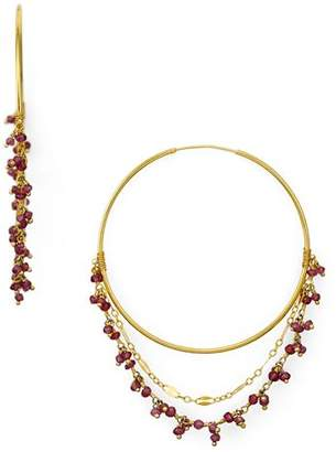 Chan Luu Stone Cluster Layered Hoop Earrings