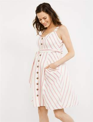 7a9d6d788ba A Pea in the Pod Button Detail Striped Maternity Dress