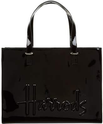 Harrods Small Patent Logo Tote