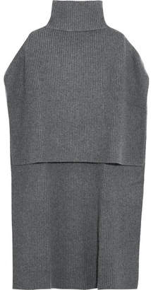 Rosetta Getty Oversized Ribbed Cashmere Turtleneck Poncho - Charcoal