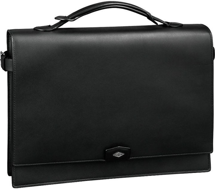 Louis Cartier two-gusset leather briefcase