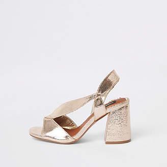 River Island Gold wide fit cross strap block heel sandals