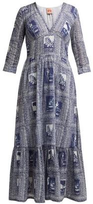 Le Sirenuse Le Sirenuse, Positano - Stella Postcard Print Cotton Voile Midi Dress - Womens - Dark Blue