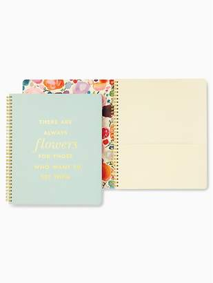 Kate Spade Always Flowers Quote Large Spiral Notebook