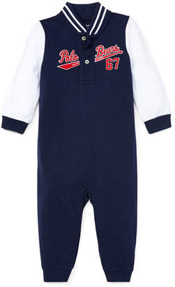 Ralph Lauren Baseball Polo Bears Coverall, Size 3-12 Months