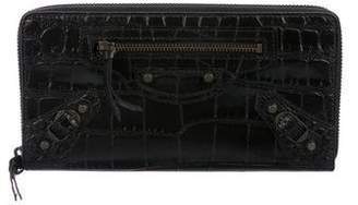 Balenciaga Embossed Classic Continental Zip Around Wallet