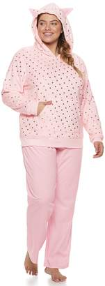 So Plus Size SO Plush Cat Hoodie & Pants Pajama Set