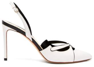 Francesco Russo Point Toe Slingback Leather Pumps - Womens - White Black