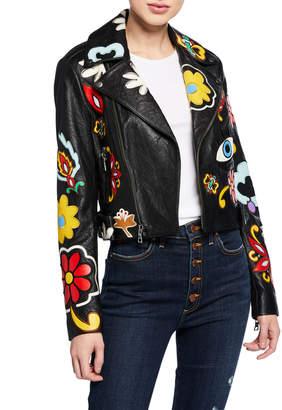 Alice + Olivia Cody Applique Leather Cropped Moto Jacket