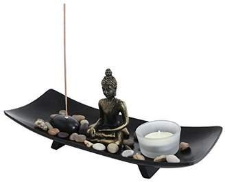 MyGift Zen Garden Buddha Statue with Glass Tealight Candle & Incense Burner Holder