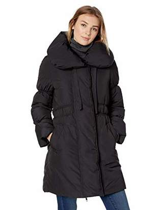 Lark & Ro Amazon Brand Women's Shoulder Pillow Collar Gathered Fit and Flare Puffer Jacket