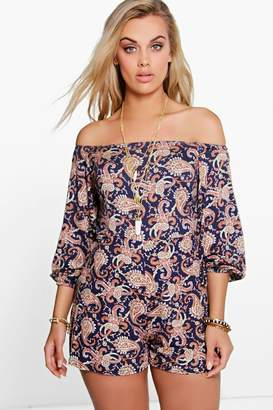 boohoo Plus Paisley Print Off The Shoulder Playsuit