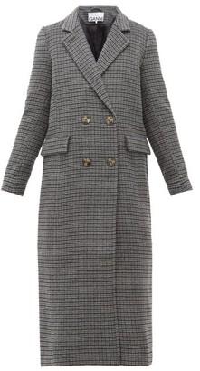Ganni Checked Wool Blend Longline Coat - Womens - Dark Grey