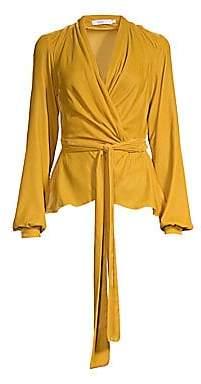 PatBO Women's Velvet Draped Wrap Top