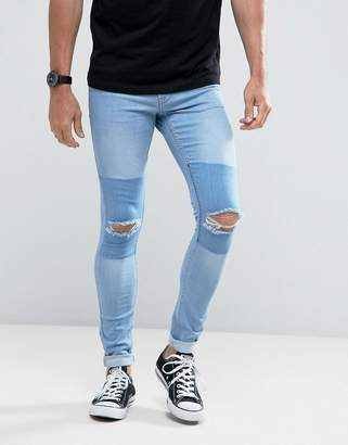 Hoxton Denim Light Wash Extreme Skinny Jeans With Knee Rips And Patch