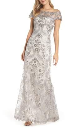 Tadashi Shoji Illusion Neck Sequin Lace Gown