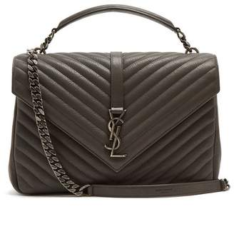 Saint Laurent College Large Quilted Leather Shoulder Bag - Womens - Dark Grey
