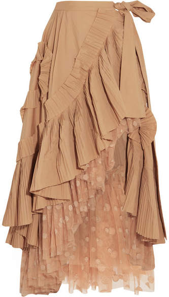 J.Crew - Ruffled Pleated Cotton-blend Poplin And Polka-dot Tulle Midi Skirt - Beige
