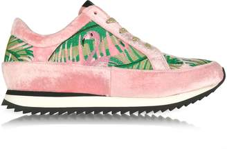 Charlotte Olympia Work It Flamingo Pink Velvet Lace Up Sneakers