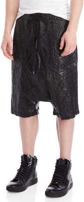 Army Of Me Black Coated Drop Crotch Shorts