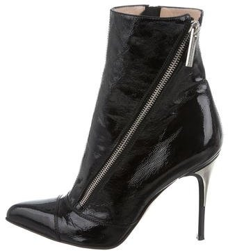Luciano Padovan Patent Leather Pointed-Toe Ankle Boots $85 thestylecure.com