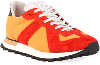 Maison Margiela Men's Replica Nylon & Suede Sneaker, Orange