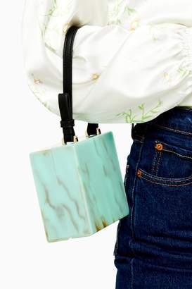Topshop GRACE Turquoise Acrylic Grab Bag