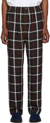 Balenciaga Black and White Check Fluid Pyjama Trousers