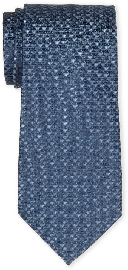 Calvin Klein Navy Tonal Pattern Silk Tie