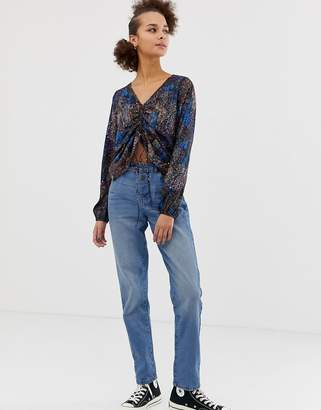Noisy May straight leg jean with eyelet detail in blue