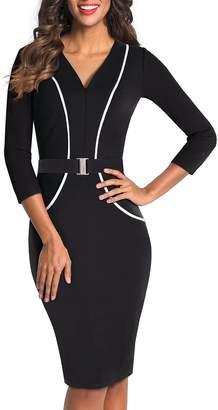 HOMEYEE Women's 3/4 Sleeve Business Pencil Dress B414 (S, )