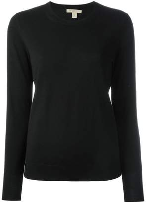 Burberry Check Detail Merino Wool Crew Neck Sweater