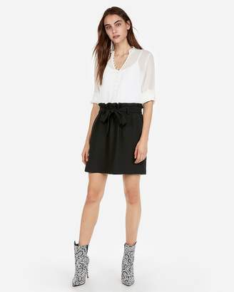 Express High Waisted Sash-Tie Waist Mini Skirt