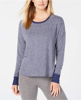 Alfani Brushed Hacci Knit Striped Pajama Top, Created for Macy's
