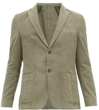 Officine Generale Single Breasted Cotton Corduroy Blazer - Mens - Green