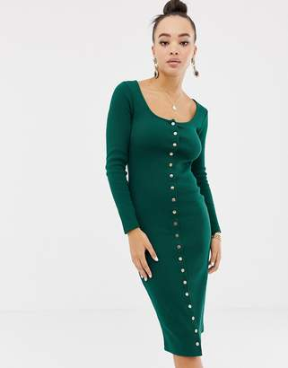 Missguided bodycon popper down midi dress in green