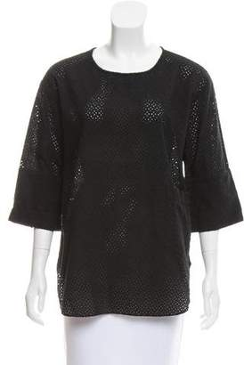 Steven Alan Broderie Anglaise Long Sleeve Top