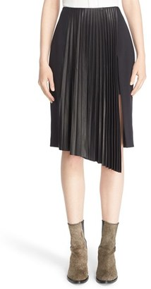 Women's Belstaff 'Valentina' Pleated Leather Trim Skirt $1,295 thestylecure.com