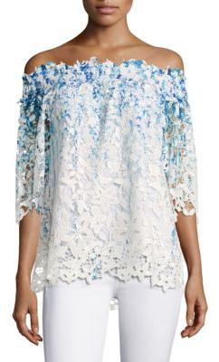 Elie Tahari Diana Lace Off-the-Shoulder Top $298 thestylecure.com