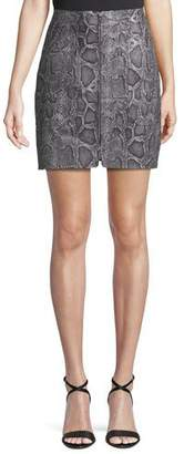 Rebecca Taylor Snake-Print Leather Zip-Front Short Skirt