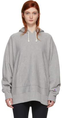 Champion Reverse Weave Grey Oversized Small Logo Hoodie