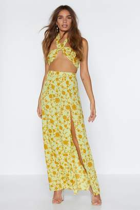 Nasty Gal Leaf Me Two It Halter Top and Maxi Skirt Set
