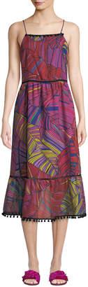 Catherine Malandrino Scoop-Neck Sleeveless Multicolor Palm-Print Maxi Dress w/ Pompom Trim