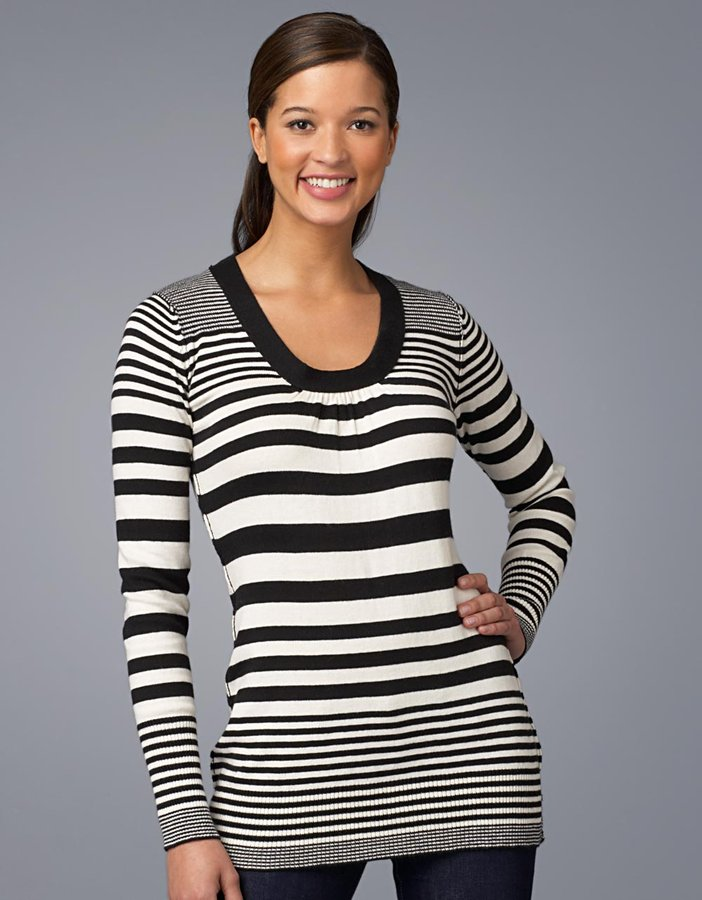 Calvin Klein jeans Long-Sleeved Striped U-Neck Sweater