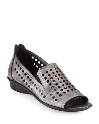 Sesto Meucci Ellen Perforated Comfort Slip-On Flat, Gray
