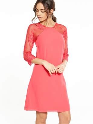 Little Mistress Lace Shift Dress - Coral