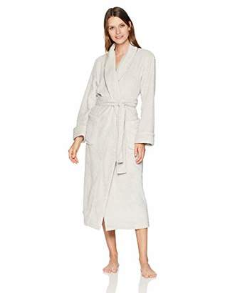 Arabella Women's Shawl Collar Textured Plush Long Robe with Satin Trim