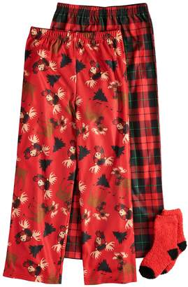 Up Late Boys 4-16 Up-Late Moose Holiday 2-Pack Lounge Pants