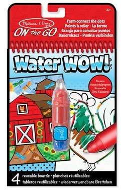 Melissa & Doug Water Wow! Farm Connect The Dots Reuseable Paintiing Book Red